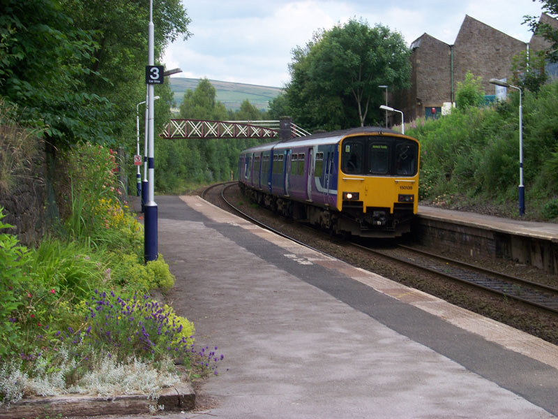 New Mills station with train